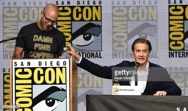 Moderator Damon Lindelof and actor Kyle MacLachlan speak onstage at ComicCon International 2017 Twin Peaks A Damn Good Panel at San Diego Convention...