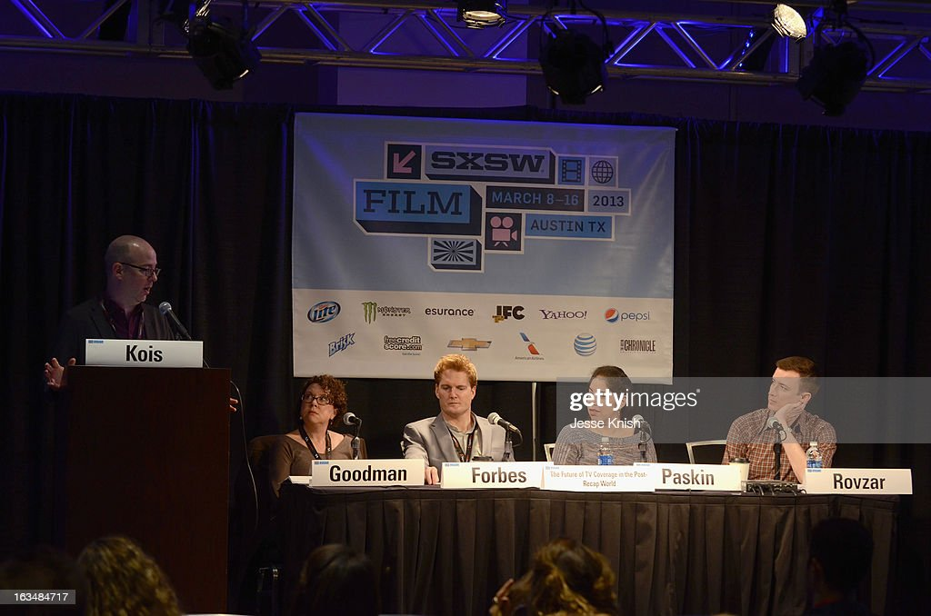 Moderator Dan Kois, Film/TV editor Stephanie Goodman, Jason Forbes, Managing Director Zeebox USA, TV critic Willa Paskin and Chris Rovzar, Digital Editor Vanity Fair speak onstage at The Future Of TV Coverage In A Post-Recap World during the 2013 SXSW Music, Film + Interactive Festival at Austin Convention Center on March 10, 2013 in Austin, Texas.