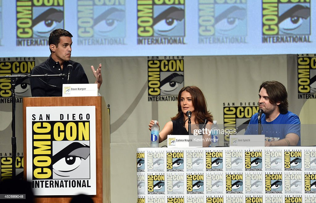Moderator Dave Karger, actress Salma Hayek and director Joe Lynch attend the Sony Pictures presentation during Comic-Con International 2014 at San Diego Convention Center on July 25, 2014 in San Diego, California.