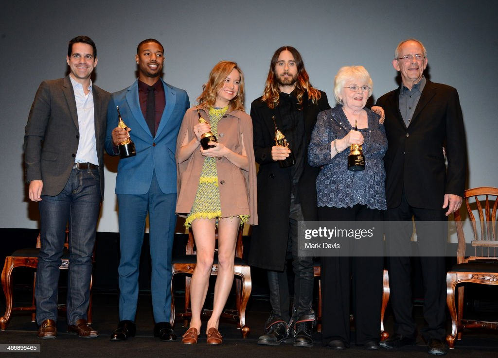 Moderator Dave Karger attends with actors <a gi-track='captionPersonalityLinkClicked' href=/galleries/search?phrase=Michael+B.+Jordan+-+Actor&family=editorial&specificpeople=608313 ng-click='$event.stopPropagation()'>Michael B. Jordan</a>, <a gi-track='captionPersonalityLinkClicked' href=/galleries/search?phrase=Brie+Larson&family=editorial&specificpeople=171226 ng-click='$event.stopPropagation()'>Brie Larson</a>, <a gi-track='captionPersonalityLinkClicked' href=/galleries/search?phrase=Jared+Leto&family=editorial&specificpeople=214764 ng-click='$event.stopPropagation()'>Jared Leto</a>, <a gi-track='captionPersonalityLinkClicked' href=/galleries/search?phrase=June+Squibb&family=editorial&specificpeople=3089431 ng-click='$event.stopPropagation()'>June Squibb</a>, and <a gi-track='captionPersonalityLinkClicked' href=/galleries/search?phrase=Christopher+Lloyd+-+Actor&family=editorial&specificpeople=226550 ng-click='$event.stopPropagation()'>Christopher Lloyd</a> at the 29th Santa Barbara International Film Festival Virtuosos Award to Daniel Bruhl, <a gi-track='captionPersonalityLinkClicked' href=/galleries/search?phrase=Michael+B.+Jordan+-+Actor&family=editorial&specificpeople=608313 ng-click='$event.stopPropagation()'>Michael B. Jordan</a>, <a gi-track='captionPersonalityLinkClicked' href=/galleries/search?phrase=Brie+Larson&family=editorial&specificpeople=171226 ng-click='$event.stopPropagation()'>Brie Larson</a>, <a gi-track='captionPersonalityLinkClicked' href=/galleries/search?phrase=Jared+Leto&family=editorial&specificpeople=214764 ng-click='$event.stopPropagation()'>Jared Leto</a> and <a gi-track='captionPersonalityLinkClicked' href=/galleries/search?phrase=June+Squibb&family=editorial&specificpeople=3089431 ng-click='$event.stopPropagation()'>June Squibb</a> at the Arlington Theatre on February 4, 2014 in Santa Barbara, California.
