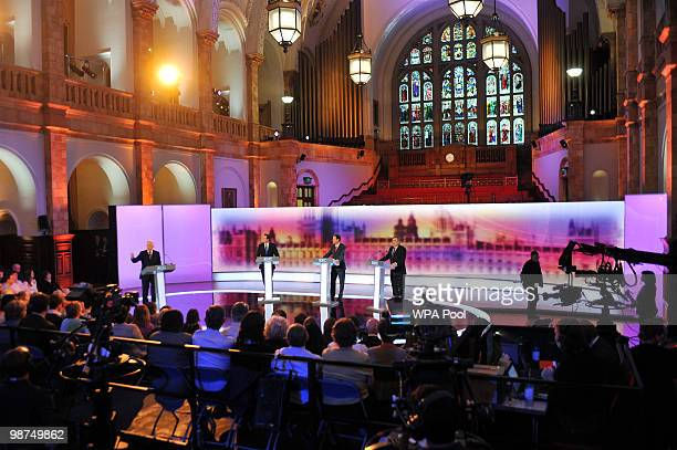 Moderator David Dimbleby Conservative Party leader David Cameron Liberal Democrat leader Nick Clegg and Prime Minister Gordon Brown take part in the...