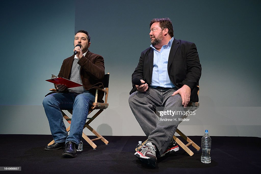 Moderator David Fear and film producer Tim Kirk attend Meet the Filmmakers at the Apple Store Soho on March 29, 2013 in New York City.