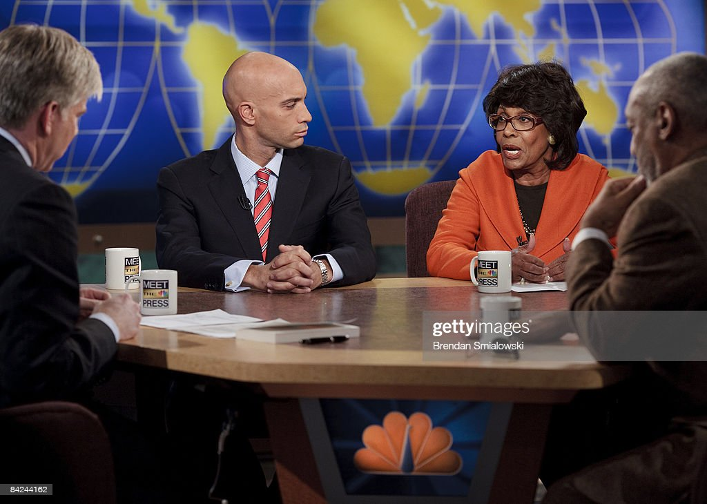 Moderator David Gregory (L), Washington DC Mayor Adrian Fenty (2L) and comedian and author <a gi-track='captionPersonalityLinkClicked' href=/galleries/search?phrase=Bill+Cosby&family=editorial&specificpeople=206281 ng-click='$event.stopPropagation()'>Bill Cosby</a> (R) listen to Rep. Maxine Waters (D-CA) (2R) speak during a live taping of 'Meet the Press' at the NBC studios January 11, 2009 in Washington, DC. The panel discussion was focused on the incoming President-elect, Barack Obama and his administration.