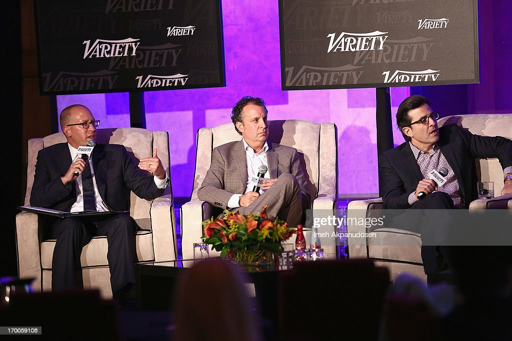 Moderator David Messinger, Co-Head CAA Marketing Creative Artists Agency, Donald Evans, CMO The Cheesecake Factory, and Paul Guyardo, EVP, Chief Revenue Officer and CMO DirecTV speak during the 'Chief Marketing Officer Roundtable' panel at Variety Presents