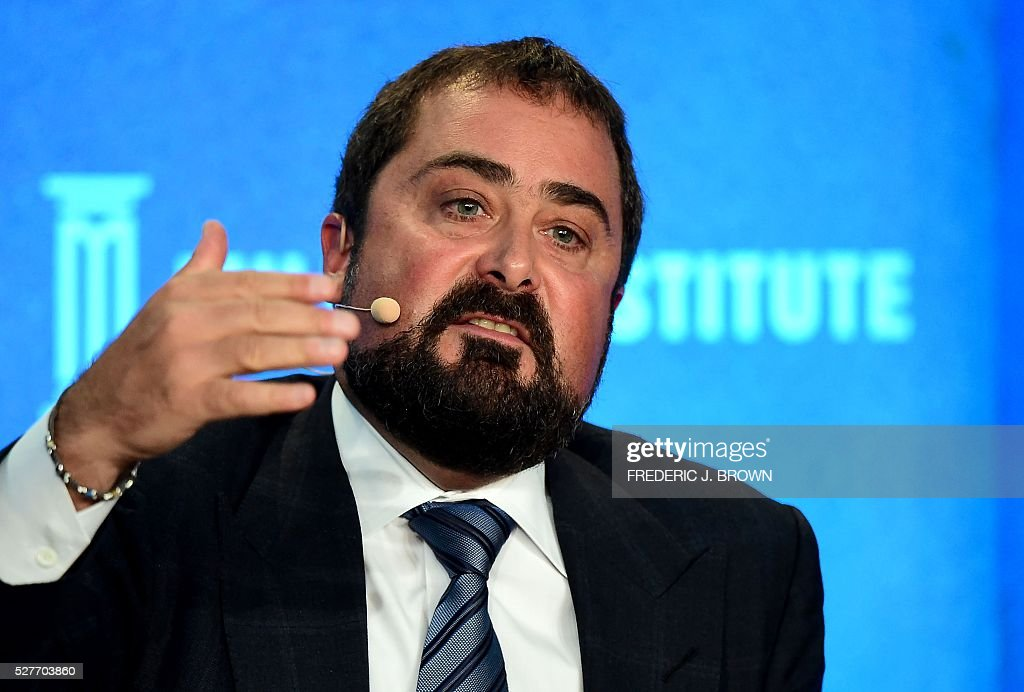 Moderator David Zervos, Chief Market Strategist, Jeffries LLC, speaks on the panel 'Monetary Policy: Out of Ammunition?' at the 2016 Milken Institute Global Conference in Beverly Hills, California on May 3, 2016. / AFP / FREDERIC