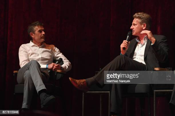 Moderator Dirk Steffens and WWF Representative Eberhard Brandes speak on stage at a QA after a special screening of 'An Inconvenient Sequel Truth to...