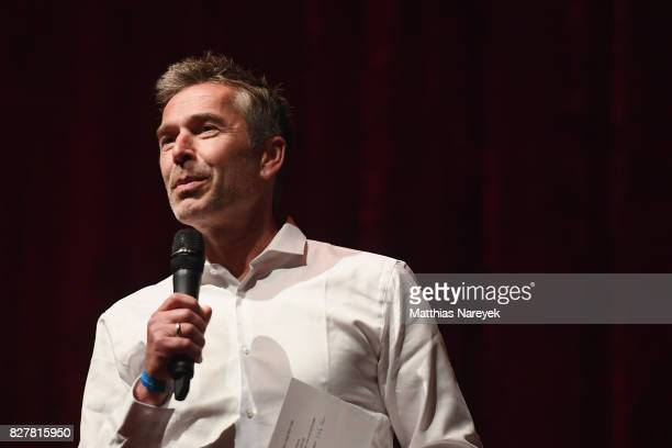 Moderator Dirk Steffens speaks on stage at a QA after a special screening of 'An Inconvenient Sequel Truth to Power' at Zoo Palast on August 8 2017...