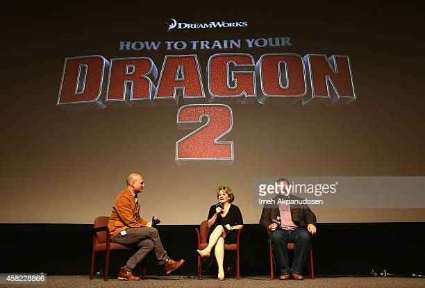 Moderator Dominic Patten producer Bonnie Arnold and writer/director Dean DeBlois speak onstage during Deadline's The Contenders at DGA Theater on...