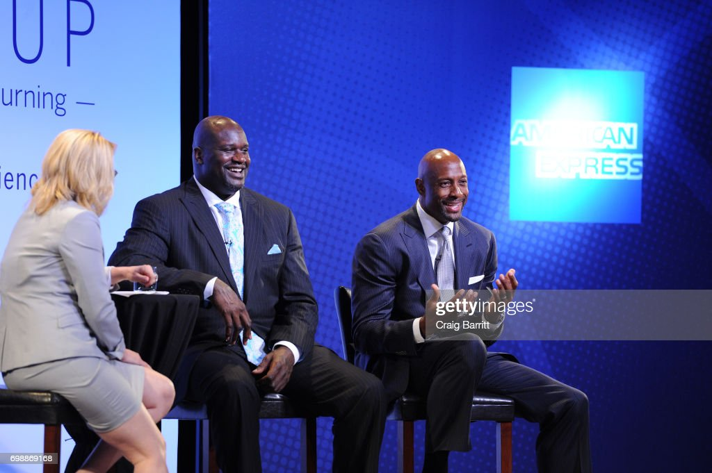 Moderator Doris Burke speaks with Shaquille O'Neal and Alonzo Mourning onstage during American Express Teamed Up with Shaquille O'Neal and Alonzo Mourning on June 20, 2017 in New York City.