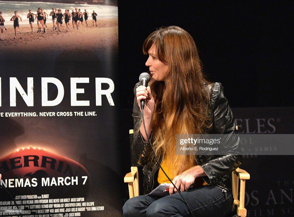 Moderator Elissa Down attends Australians In Film's screening of Revival Film Company's 'Blinder' at Los Angeles Film School on April 17, 2013 in Los Angeles, California.