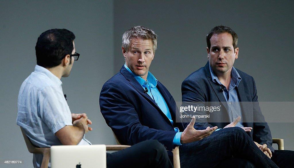 Moderator Eric Cohn, Daniel Junge and Kief Davidson speak during meet the filmmaker series, 'A Lego Brickumentary' at the Apple Store Soho on July 27, 2015 in New York City.