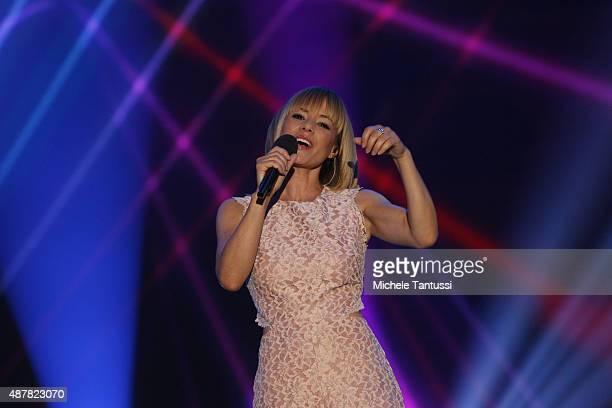 Moderator Francine Jordi during the dress rehearsal of the TV music show 'Stadlshow' on September 11 2015 in Offenburg Germany