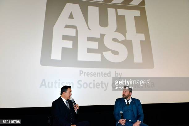 Moderator George Pennacchio and actor Ben Affleck attend a QA session for 'The Accountant' at the 1st Annual AutFest International Film Festival at...