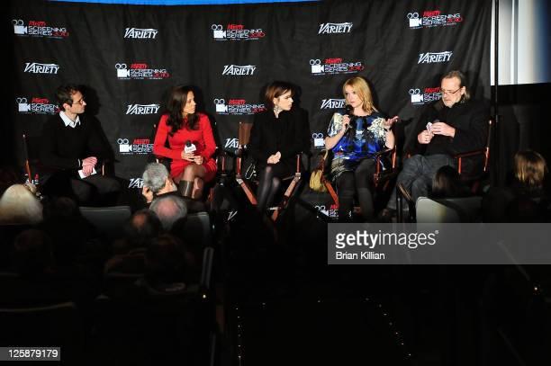 Moderator Gordon Cox producer Elizabeth Karlsen actress Sally Hawkins actress Miranda Richardson and director Nigel Cole attend a screening of 'Made...