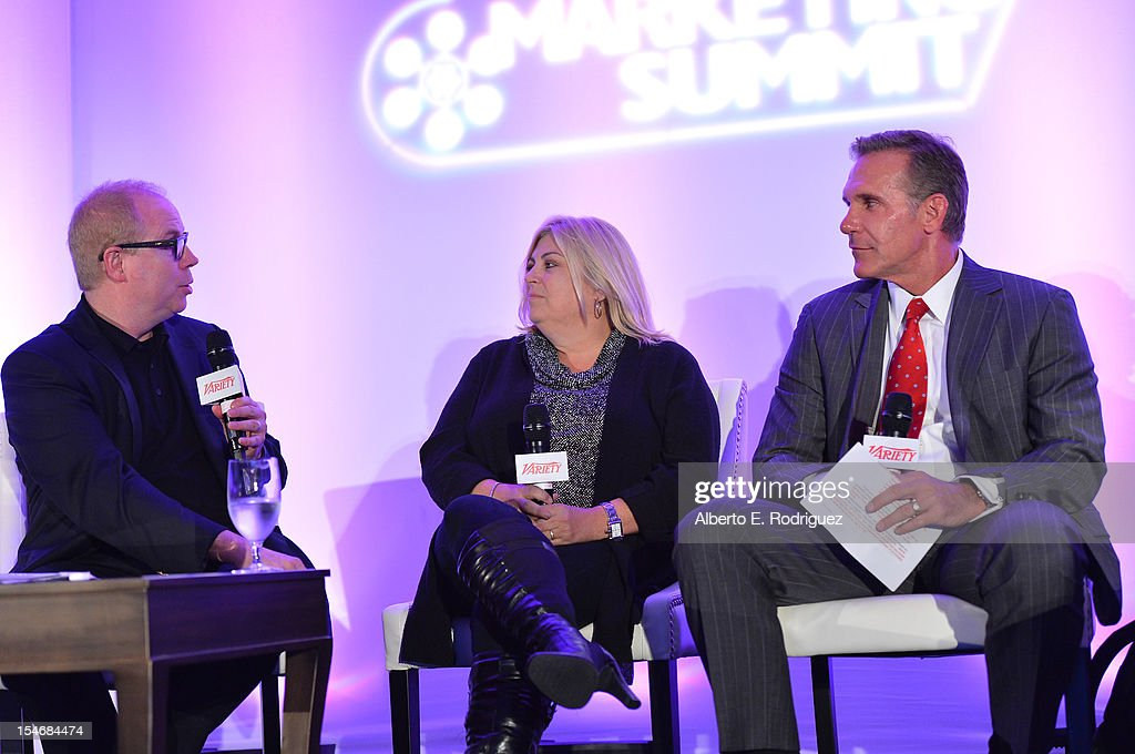 Moderator Gordon Paddison, Stradella Road, Lee Anne Stables, President, Consumer Products & Executive Vice President, Worldwide Marketing, and Gene Garlock, Senior Vice President, Global Promotions, Warner Bros speak onstage during the Global Partnership panel at Variety's 2012 Film Marketing Summit in Association with Stradella Road at InterContinental Hotel on October 24, 2012 in Century City, California.