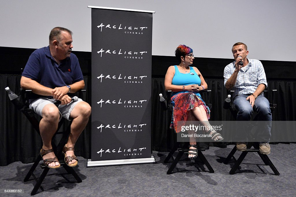 Moderator Greg Baird, Executive Producer Linda Karn and Eddie Budz attend 'Matt Shepard Is A Friend Of Mine' benefit screening and Q&A at ArcLight Chicago on June 27, 2016 in Chicago, Illinois.