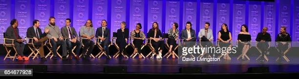 Moderator Greg Braxton executive producers Scott M Gimple Robert Kirkman David Alpert and Greg Nicotero and actors Andrew Lincoln Melissa McBride...