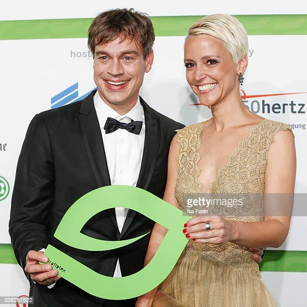 Moderator Harro Fuellgrabe and Alexia Osswald attend the Green Tec Award at ICM Munich on May 29 2016 in Munich Germany