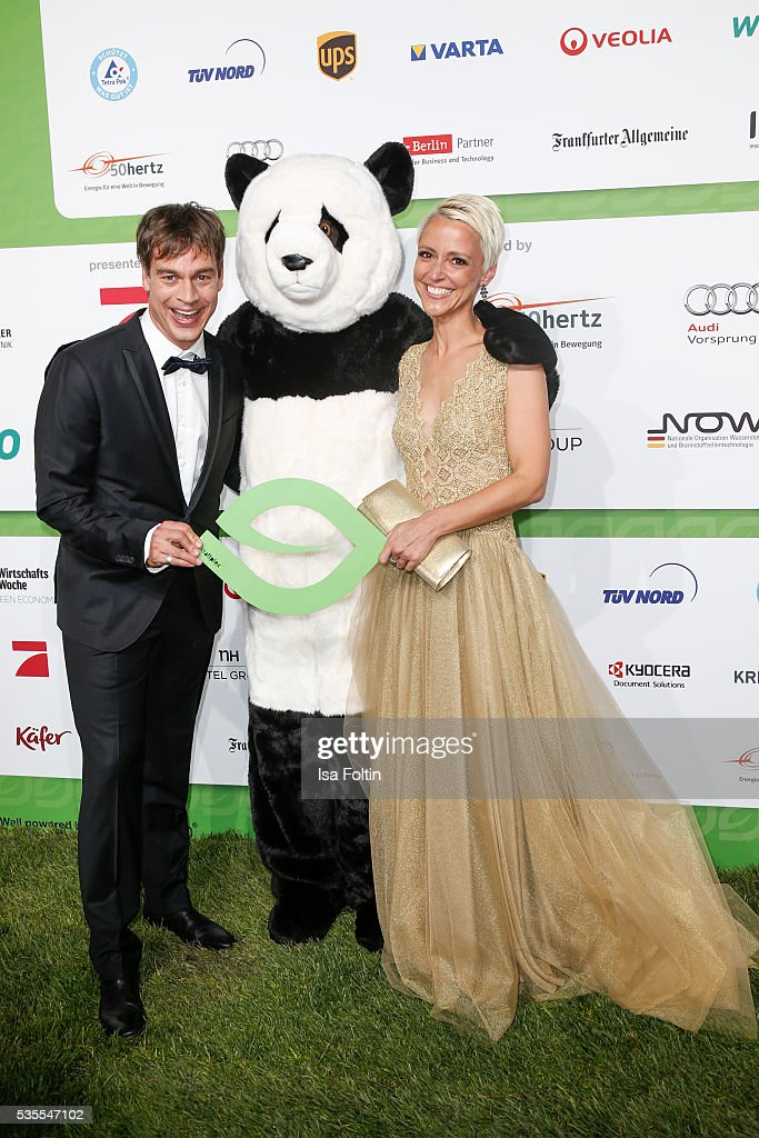 Moderator Harro Fuellgrabe with the Green Tec Mascot and Alexia Osswald attend the Green Tec Award at ICM Munich on May 29, 2016 in Munich, Germany.