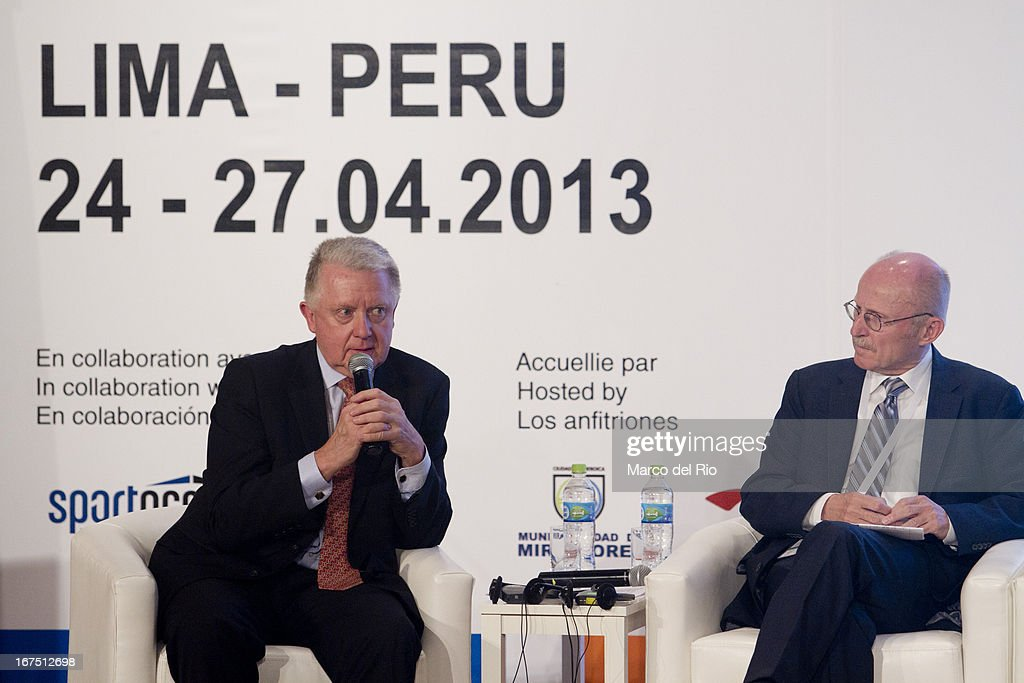 Moderator Hein Verbruggen, Chairman of Sport Accord during plenary lecture of the Second Day of the 15th IOC World Conference Sports For All at the Auditorim of the Daniel Alcides Convention Centre on April 25, 2013 in Lima, Peru.
