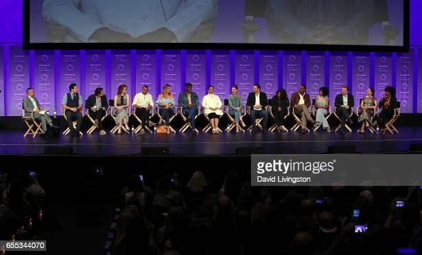 Moderator Henry Goldblatt and actors Giacomo Gianniotti Martin Henderson Sarah Drew Jesse Williams Jessica Capshaw James Pickens Jr Debbie Allen...
