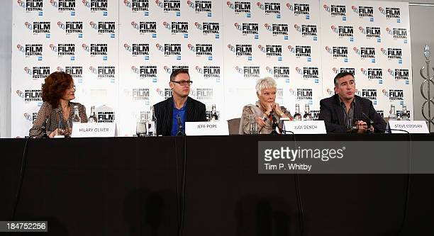 Moderator Hilary Oliver screenwriter Jeff Pope and actors Dame Judi Dench and Steve Coogan attend the 'Philomena' press conference during the 57th...