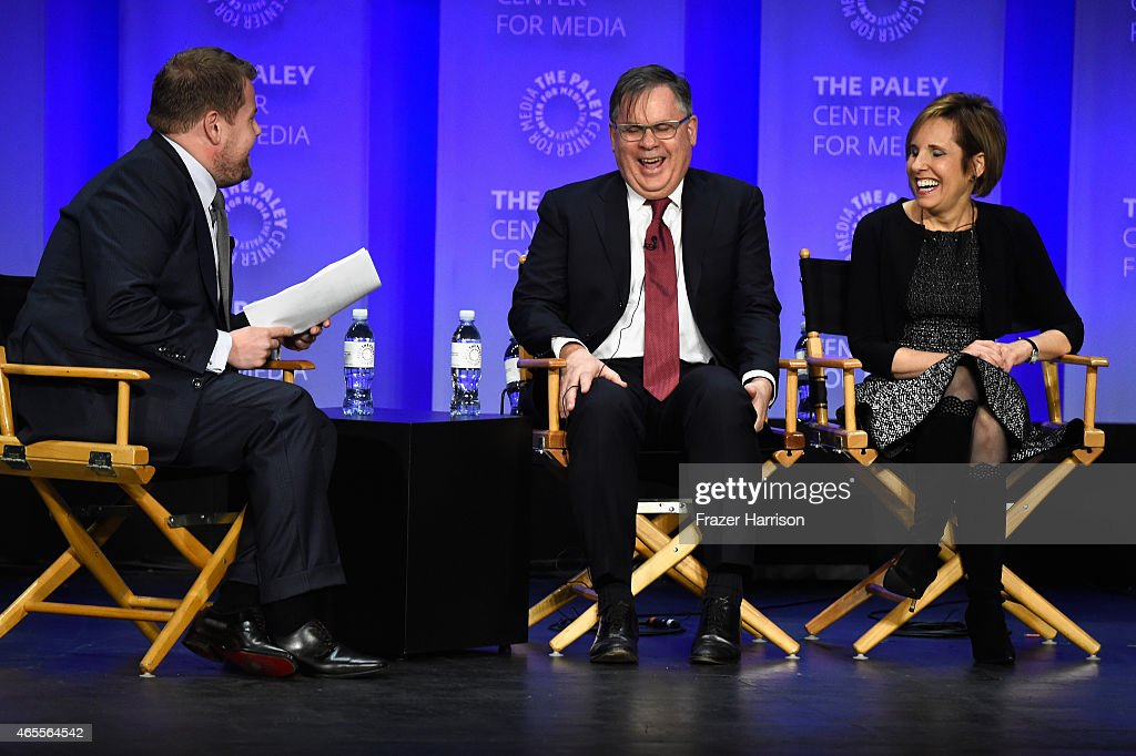 Moderator James Corden Exec Producer/Creators Robert King and Michelle King on stage at The Paley Center For Media's 32nd Annual PALEYFEST LA 'The...