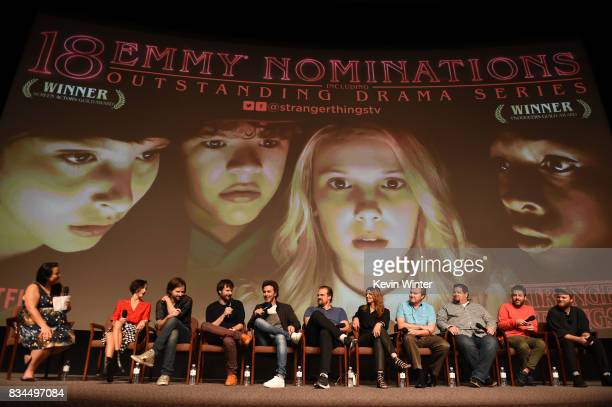 Moderator Janelle Riley Carmen Cuba Matt Duffer Ross Duffer Shawn Levy David Harbour Nora Felder Kevin Ross Dean Zimmerman Kyle Dixon and Michael...