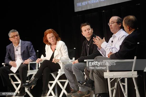 Moderator Jeffrey Toobin author Lynda La Plante filmmaker Leigh Whannel New Yorker staff writer David Grann and author Scott Turow participate in a...
