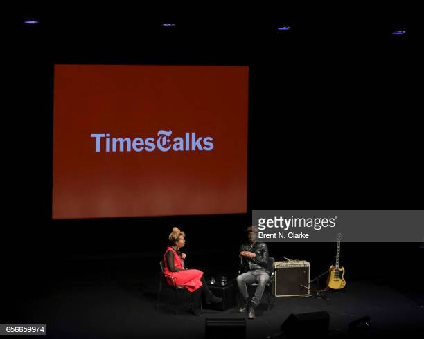 Moderator Jenna Wortham and musician Gary Clark Jr speak on stage during TimesTalks held at TheTimesCenter on March 22 2017 in New York City