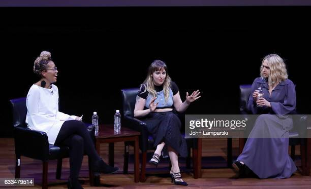 Moderator Jenna Wortham Lena Dunham and Jemima Kirke speak during the TimesTalks A Final Farewell to the cast of HBO's 'Girls' at NYU Skirball Center...