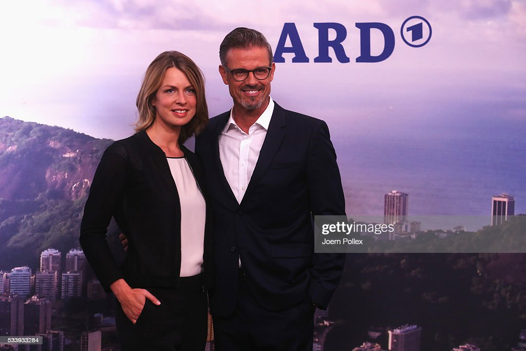 ARD moderator Jessy Wellmer (L) and ARD moderator Michael Antwerpes pose during a photocall prior to the ARD and ZDF Olympics 2016 Press Conference at Empire Riverside Hotel on May 24, 2016 in Hamburg, Germany.
