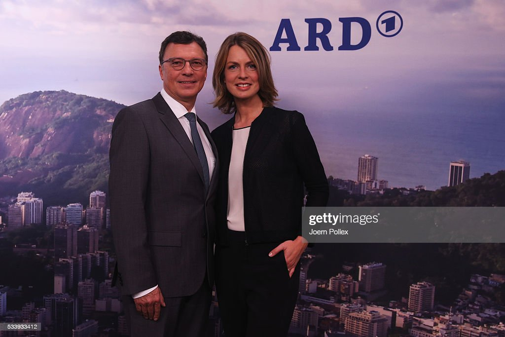 ARD moderator Jessy Wellmer (L) and Volker Herres, program director of ARD pose during a photocall prior to the ARD and ZDF Olympics 2016 Press Conference at Empire Riverside Hotel on May 24, 2016 in Hamburg, Germany.