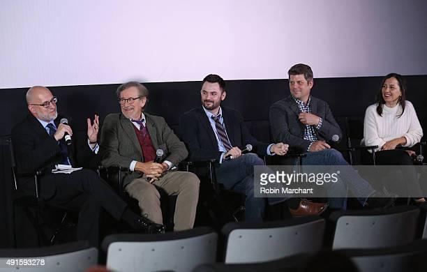 Moderator Joe Neumaier director Steven Spielberg writer Matt Charman production designer Adam Stockhausen and costume designer Kasia Walicka Maimone...