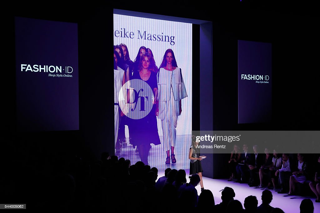 Moderator Johanna Klum speaks at the Mareike Massing show (DfT winner 2015), 'Designer for Tomorrow' by Peek & Cloppenburg and Fashion ID, during the Mercedes-Benz Fashion Week Berlin Spring/Summer 2017 at Erika Hess Eisstadion on June 30, 2016 in Berlin, Germany.