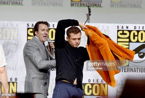 Moderator Jonathan Ross and actor Taron Egerton speak onstage at the 20th Century FOX panel during ComicCon International 2017 at San Diego...