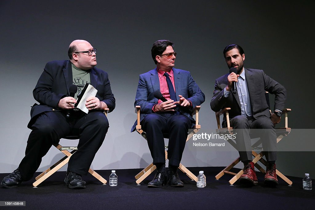 Moderator Jordan Hoffman chats with director Roman Coppola and actor Jason Schwartzman during the Meet The Filmmakers panel discussion for 'A Glimpse Inside The Mind Of Charles Swan III' at Apple Store Soho on January 8, 2013 in New York City.