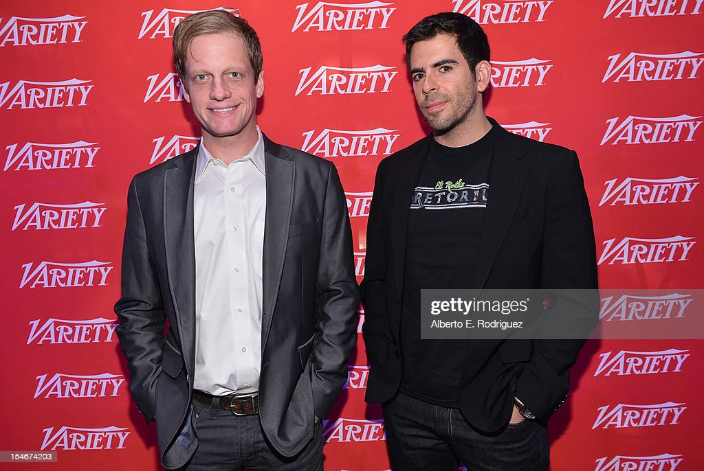 Moderator Josh Dickey, Film Editor, Variety (L) and Director-Writer-Producer, <a gi-track='captionPersonalityLinkClicked' href=/galleries/search?phrase=Eli+Roth&family=editorial&specificpeople=543948 ng-click='$event.stopPropagation()'>Eli Roth</a> attend the Variety's 2012 Film Marketing Summit in Association with Stradella Road at InterContinental Hotel on October 24, 2012 in Century City, California.