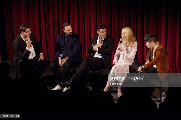 Moderator Josh Rothkopf writer director and producer Yorgos Lanthimos actor Colin Farrell actress Nicole Kidman and actor Barry Keoghan on stage...
