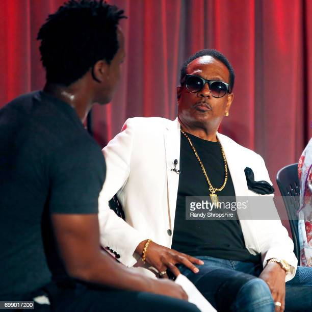Moderator Justin Hunte and musician Charlie Wilson attend the Health in Hip Hop panel at the GRAMMY Museum on June 20 2017 in Los Angeles California