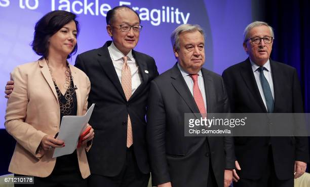 Moderator Kim Ghattas of the BBC World Bank Group President Jim Yong Kim United Nations Secretary General Antonio Guterres and European Commission...