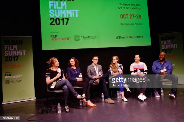 Moderator Lorraine Ali Alison Tatlock Mark Lafferty Angelina Burnett Andrew Law and Shawn Boxe attend Sloan Film Summit 2017 Day 3 on October 29 2017...