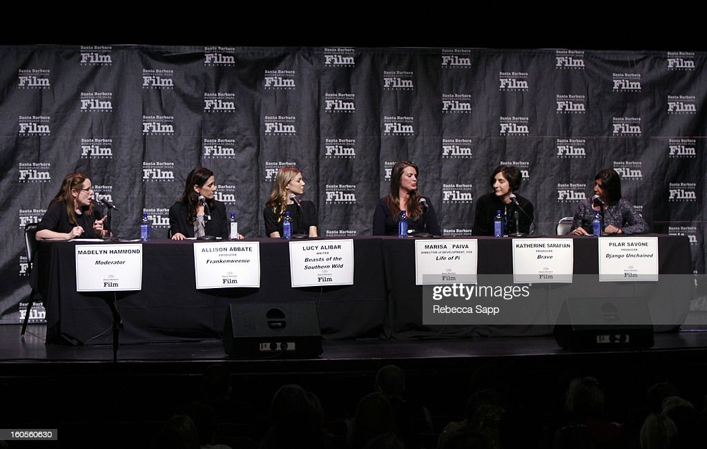 Moderator Madelyn Hammond, producer Allison Abbate, writer Lucy Alibar, Fox executive Marisa Paiva, producer Katherine Sarafian and producer Pilar Savone attend the 28th Santa Barbara International Film Festival Women's Panel on February 2, 2013 in Santa Barbara, California.