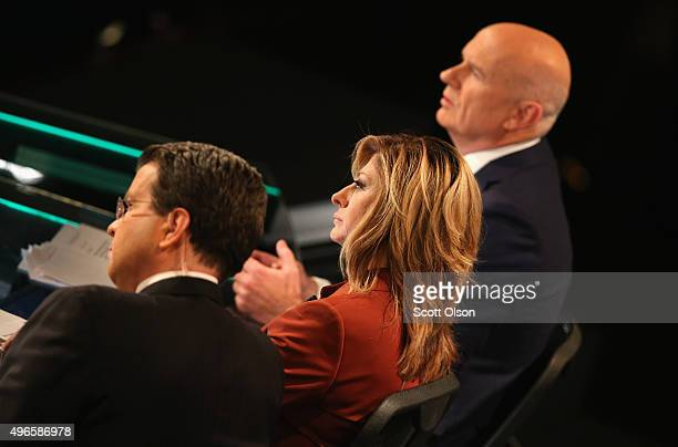 Moderator Maria Bartiromo looks on during the Republican Presidential Debate sponsored by Fox Business and the Wall Street Journal at the Milwaukee...