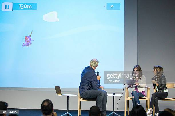 Moderator Mike Caron actors Madisyn Shipman and Cree Cicchino play Sky Whale at the Apple Store Soho Presents Meet the Cast 'Nickelodeon's Game...
