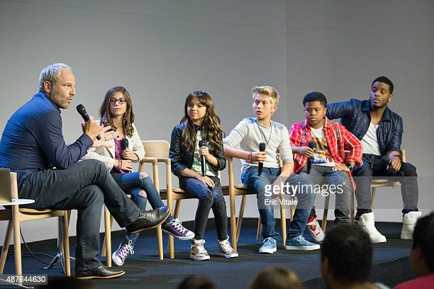 Moderator Mike Caron Actors Madisyn Shipman Cree Cicchino Thomas Kuc Benjamin Flores Jr and Kel Mitchell speak at the Apple Store Soho Presents Meet...