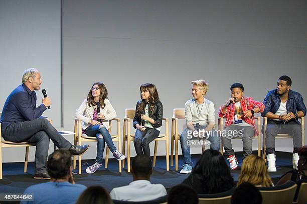 Moderator Mike Caron actors Madisyn Shipman Cree Cicchino Thomas Kuc Benjamin Flores Jr and Kel Mitchell speak at the Apple Store Soho Presents Meet...
