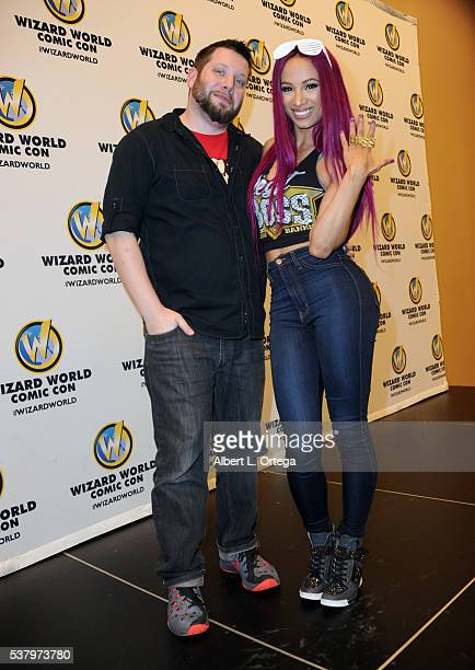 Moderator Mo Lightning and WWE's Sasha Banks on Day 2 of Wizard World Comic Con Philadelphia 2016 held at Pennsylvania Convention Center on June 3...