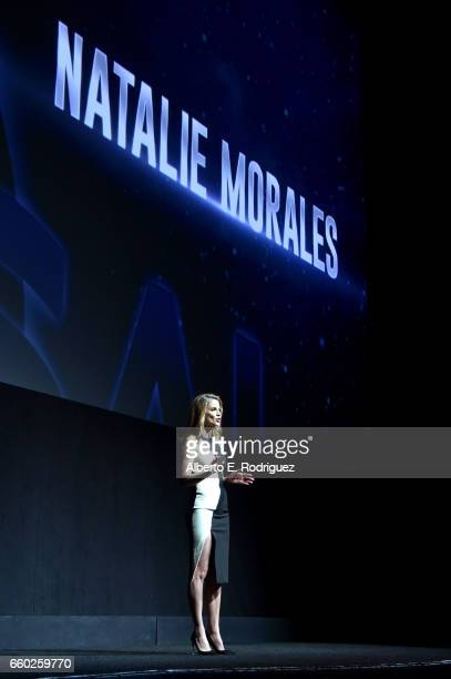 Moderator Natalie Morales speaks onstage at CinemaCon 2017 Universal Pictures Invites You to a Special Presentation Featuring Footage from its...