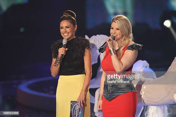 Moderator Nazan Eckes and Beatrice Egli at the 'Deutschland sucht den Superstar' Finals on May 11 2013 in Cologne Germany